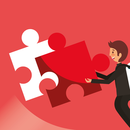 Businessman putting piece puzzle red background, vector illustration.