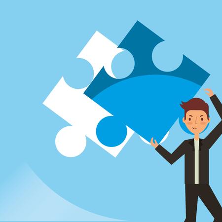 businessman holding puzzle jigsaw complete mission vector illustration Stock Illustratie