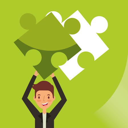businessman holding up puzzle plan strategy vector illustration