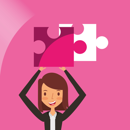 business woman holding over head puzzle jigsaw vector illustration