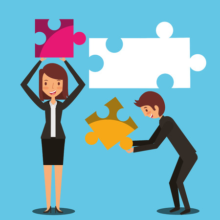 business man and woman holding pieces of puzzle teamwork vector illustration