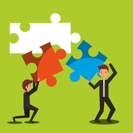 business men holding pieces puzzle together process work concept vector illustration