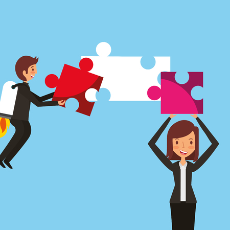 businessman with rocket in back and woman holding puzzle vector illustration