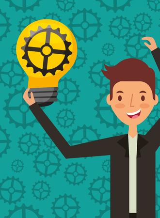 businessman holding gear inside bulb idea work cogwheels background vector illustration