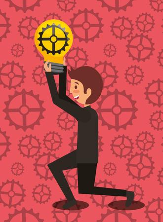 business man kneeling holding bulb with gear creativity motion work vector illustration Stock Illustratie