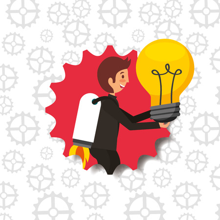 businessman with rocket in back holding bulb idea badge vector illustration Ilustração