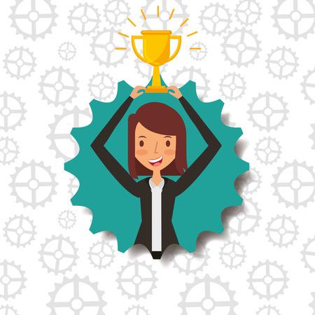 business woman holding trophy award badge vector illustration Illusztráció