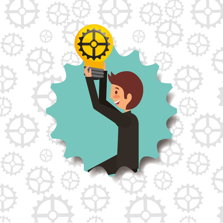 business man kneeling holding bulb with gear working vector illustration