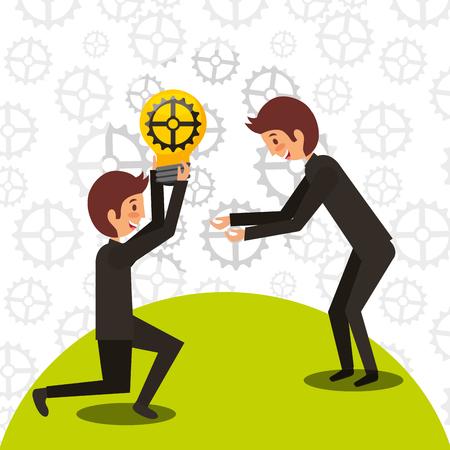 businessman giving bulb gear a man colleagues work vector illustration