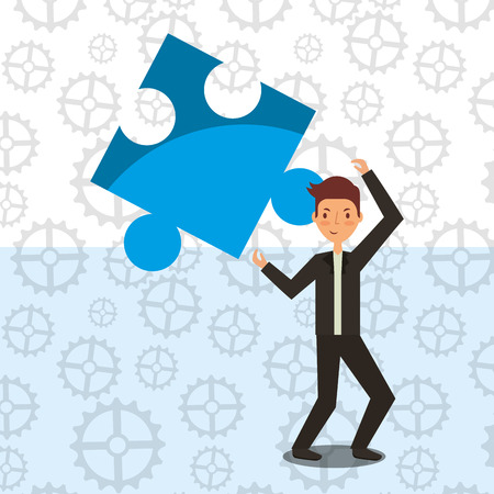 businessman holding blue piede puzzle strategy concept vector illustration