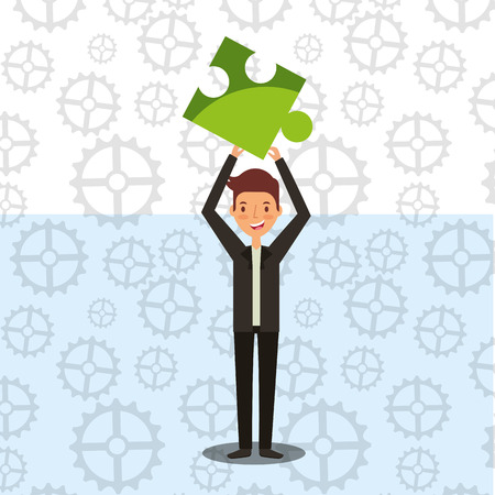 businessman with piece puzzle business work plan vector illustration 일러스트