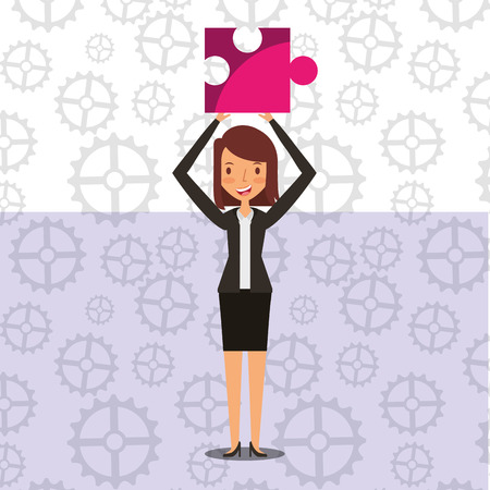 Stehende Geschäftsfrau Stück Puzzle Teamarbeit Vektor-Illustration Standard-Bild - 99186055