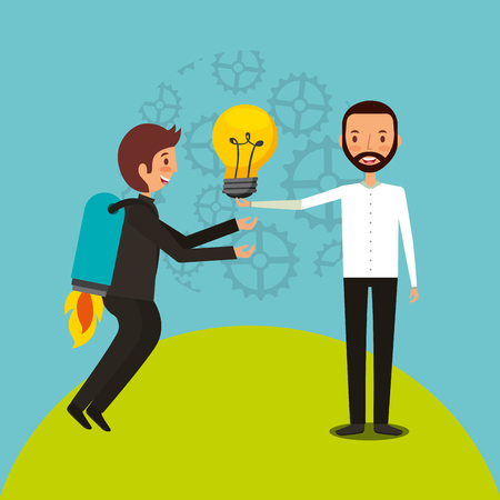 businessman with rocket in back and man holding bulb team work vector illustration Stock Illustratie