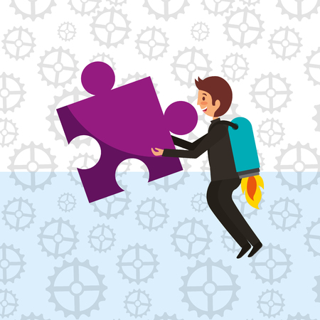 businessman with rocket in back holding big puzzle vector illustration Иллюстрация