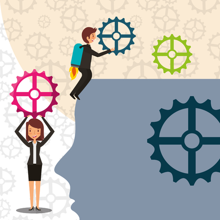 businessman with rocket in back and woman with gears put on brain head vector illustration