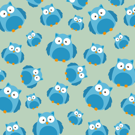 cute owls father and son characters pattern vector illustration design