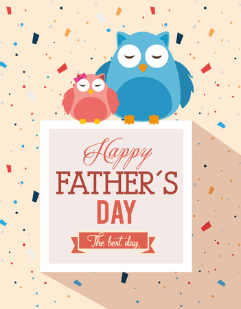 happy fathers day card with owls vector illustration design Çizim