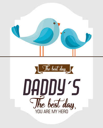 happy fathers day card with birds vector illustration design Çizim