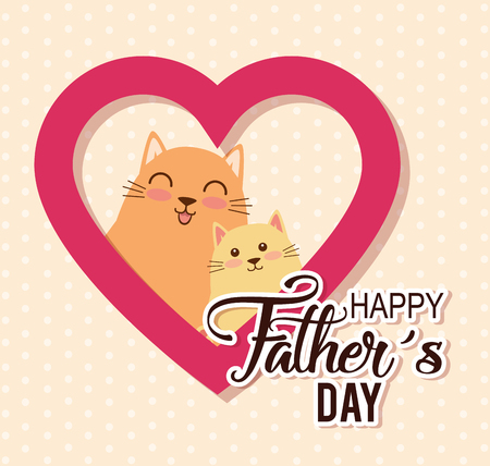 happy fathers day card with cats vector illustration design