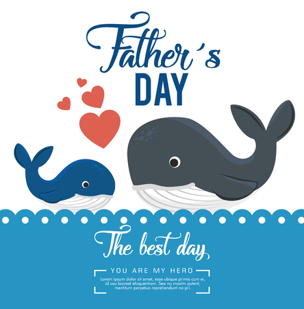 happy fathers day card with whale vector illustration design