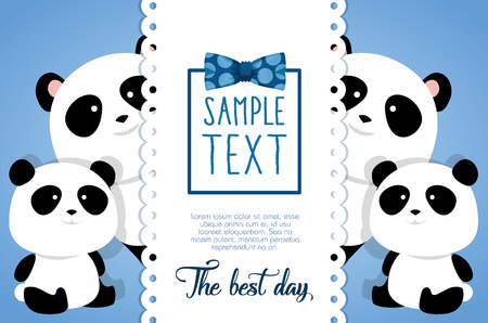 happy fathers day card with panda bears vector illustration design