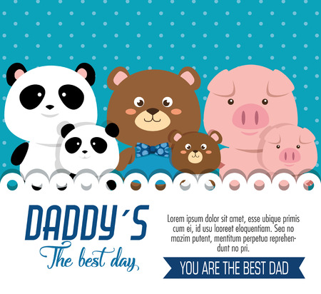 happy fathers day card with animals family vector illustration design