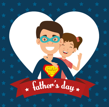 best father with daughter avatars vector illustration design