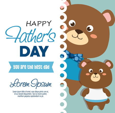 happy fasthers day card with bears vector illustration design Çizim