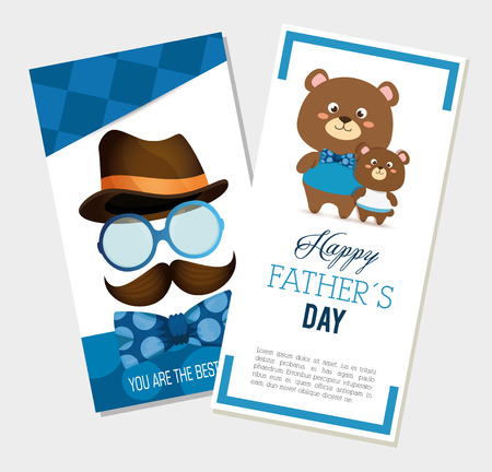 happy fasthers day card with bears and hipster accessories vector illustration Çizim