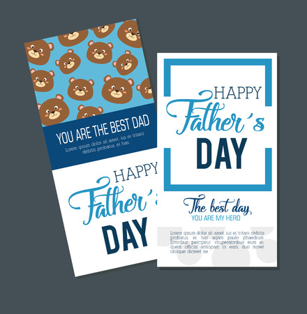 happy fasthers day card with bears vector illustration design Ilustrace