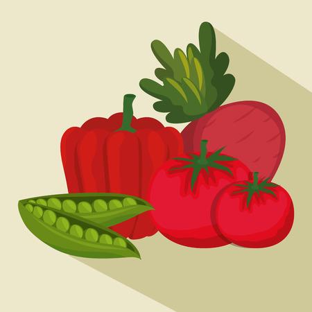 Fresh vegetables organic and healthy food vector illustration design