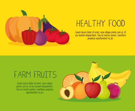 Fresh vegetables and fruits healthy food vector illustration design