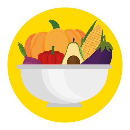 Fresh vegetables in bowl healthy food vector illustration design