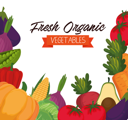Fresh vegetables organic and healthy food vector illustration design