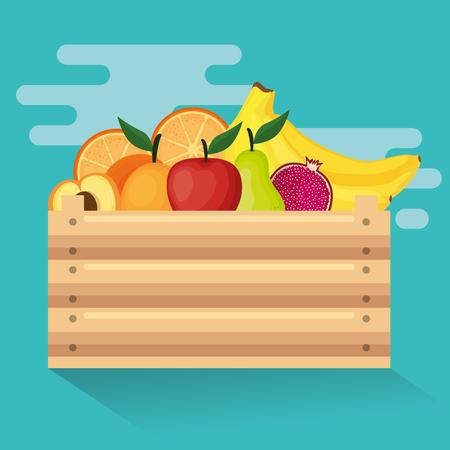 Fresh vegetables in wooden basket vector illustration design Ilustração