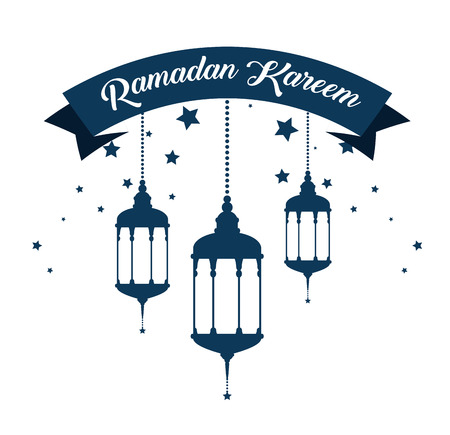 ramadan kareem card with lanterns hanging vector illustration design Çizim