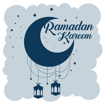 ramadan kareem card with lanterns hanging and moon vector illustration