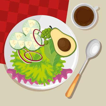 Teller mit gesunden Lebensmitteln Salat Vektor-Illustration Design Standard-Bild - 99159111