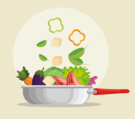 kitchen pan with fresh and organic vegetables vector illustration design