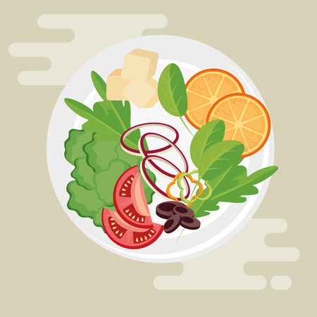 Teller mit gesunden Lebensmitteln Salat Vektor-Illustration Design Standard-Bild - 99167168