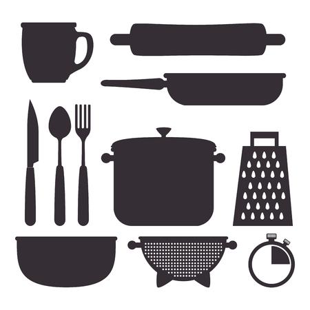 kitchen set utensils icons vector illustration design