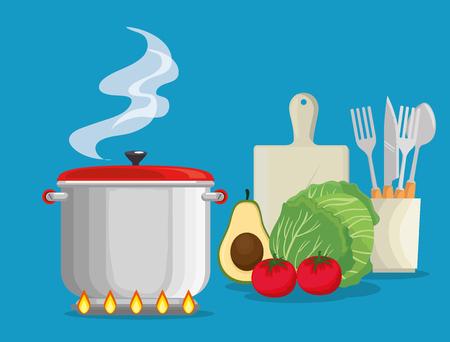 koken met vers en biologisch voedsel vector illustratie ontwerp