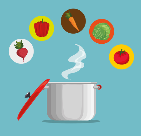 kitchen pot with fresh and organic vegetables vector illustration design