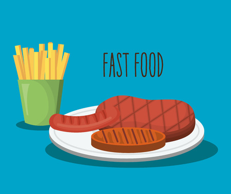 delicious french fries and fries potatoes fast food icon vector illustration design