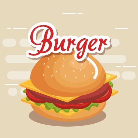 おいしいハンバーガーファーストフードアイコンベクトルイラストデザイン