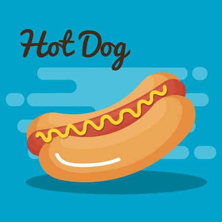 delicious hot dog fast food icon vector illustration design  イラスト・ベクター素材