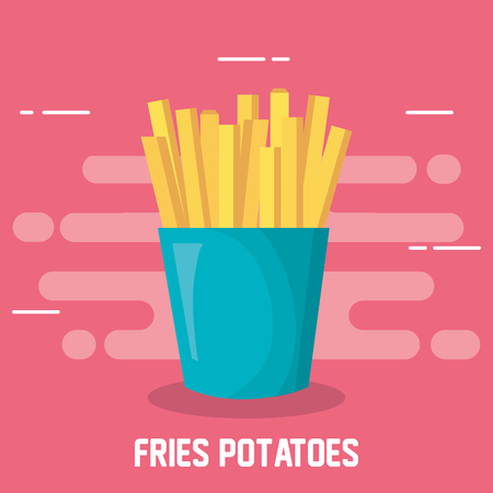 delicious fries potatoes fast food icon vector illustration design