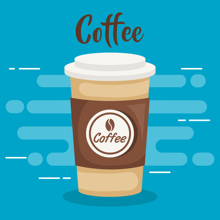 coffee drink in plastic pot vector illustration design 矢量图像