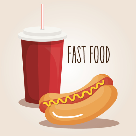 delicious hot dog and soda fast food icon vector illustration design