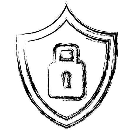 shield with safe secure padlock vector illustration design Иллюстрация